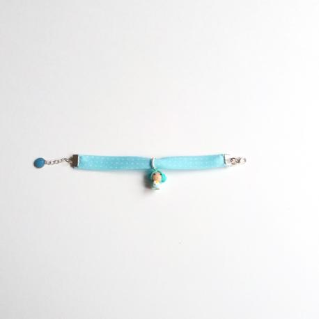 Bracelet enfant Liberty bleu à pois