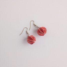 boucles d'oreilles en papier rouge fleurs