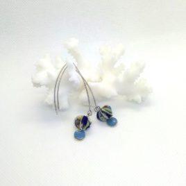 Boucles d'oreilles en papier avec sequin,bleu.