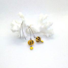 Boucles d'oreilles papier et sequin, jaune.