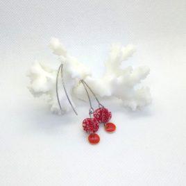 Boucles d'oreilles en papier avec sequin,rouge.