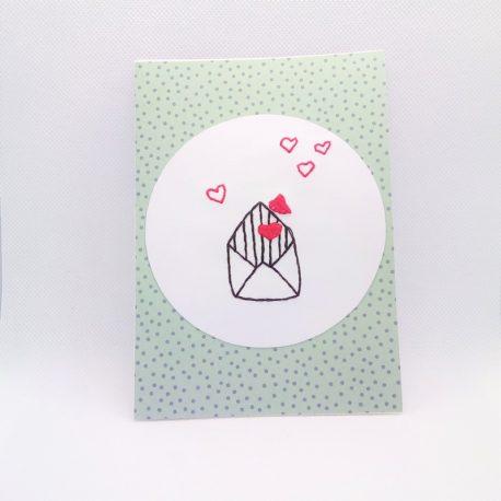 Carte brodée, lettre coeur n°2