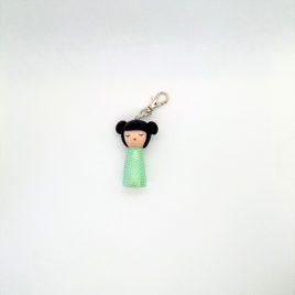 Kokeshi vert d'eau, bijou de sac, porte clé